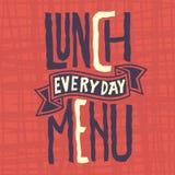 Lunchmenu Elke van het Ontwerpartistc van het Dag Gespannen Etiket de Douanetypografie Stock Fotografie