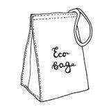 Lunchpåse Återvinningsbar påse för textilecolunch Begrepp för bomullsmatpåse Skissa teckningen Arkivbild
