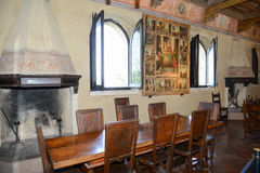 Lunchroom of Gradara castle on Marche, Italy. Stock Image