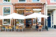 Lunchroom i Leiden, Nederländerna Fotografering för Bildbyråer
