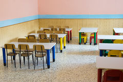 Lunchroom of the refectory of the kindergarten Royalty Free Stock Image
