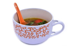 Lunchtijd met Chinese soep Royalty-vrije Stock Foto's
