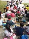 Lunchtijd in Panda Park royalty-vrije stock afbeeldingen