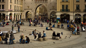 Lunchtime crowds at Munich City Gate Tower Stock Photography