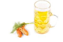 Lunchtime snack of beer and prawns Stock Image