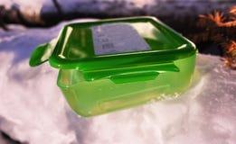 Lunchu pudełko dla jedzenia, ściska i przekąsza Stosowny dla pracy, podróży i Wycieczkować outdoors, fotografia stock