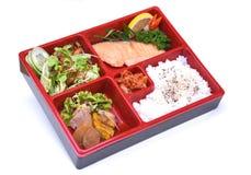 Lunchu pudełko Piec łosoś, Bento łosoś ustawia odosobnionego na bielu Zdjęcie Stock