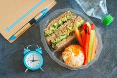 Lunchu pudełko z kanapką, warzywami, wodą i owoc na czarnym chalkboard, fotografia royalty free