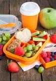Lunchu pudełko z kanapką, ciastkami, veggies i owoc, Zdjęcia Royalty Free