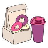 Lunchzak met zoete donuts en kop van koffie Hand getrokken schets vector illustratie