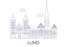 Lund, as construções as mais famosas da cidade Imagem de Stock