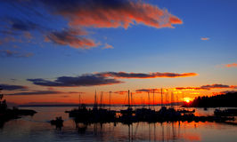 Lund, British Columbia. Beautiful sunset over the harbor in Lund, British Columbia, Canada Stock Photo
