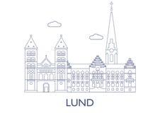 Lund, le costruzioni più famose della città Immagine Stock