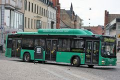 Lund, Sweden - City Bus. LUND, SWEDEN - JULY 28: Here they use Gas-fueled buses for urban transport for a better living enviroment, respectively ``Green Lund`` royalty free stock photography