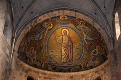 Lund, Sweden. 7 November 2018. The apse in the Lund Cathedral. royalty free stock images