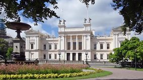 Lund University Sweden. Construction of this new building began in 1874, when the old main building Kungshuset had become too small for the growing number of stock footage