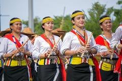 Lundayeh folkgrupp av Borneo under den Malaysia självständighetsdagen Fotografering för Bildbyråer