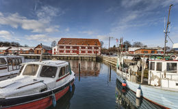 Lundeborg harbor in Denmark Stock Photo