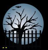 Lune, arbre et 'bat' illustration libre de droits