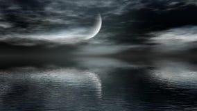 Lune au-dessus de l'eau illustration de vecteur