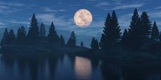 Lune au-dessus de la forêt image libre de droits