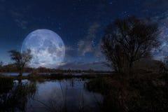 Lune au-dessus de la rivière de Dnieper Photo stock