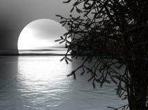 Lune au-dessus de mer Images stock