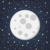 Lune avec des étoiles dans le style plat de dasign Illustration de vecteur Illustration de Vecteur