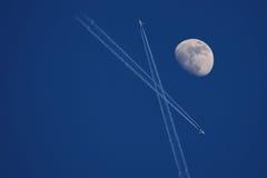 Lune avec des aéronefs Image libre de droits