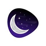 Lune avec l'icône d'étoiles Photos libres de droits