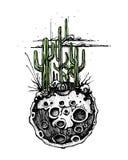 Lune avec l'illustration de cactus Image libre de droits