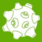 Lune avec le vert d'icône de cratères Illustration Libre de Droits