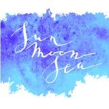 Lune bleue du soleil d'aquarelle de calligraphie Photo stock
