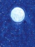 Lune brillante de vecteur peint à la main avec des étoiles sur l'illustration de ciel nocturne illustration stock