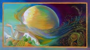 Lune celtique Peinture à l'huile sur le bois illustration de vecteur