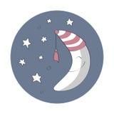 Lune d'artoon de ¡ de Ð avec des étoiles Photos libres de droits