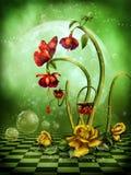 Lune d'imagination avec des fleurs illustration de vecteur
