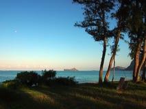 Lune dans le ciel au-dessus de la plage de Waimanalo Photographie stock libre de droits