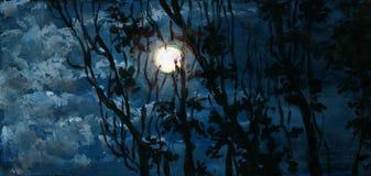 Lune dans le ciel nuageux Photographie stock
