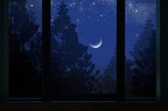 Lune de affaiblissement isolée au-dessus des pins dans le châssis de fenêtre photographie stock