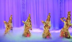Lune de ballet de danse-Hui de pot de trésor au-dessus de Helan Photographie stock