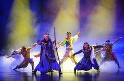 Lune de ballet de tribu-Hui de Hui au-dessus de Helan Photographie stock libre de droits