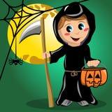 Lune de costume de Halloween de la mort d'enfant pleine Image stock