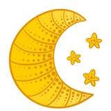 Lune de griffonnage avec des étoiles Illustration Stock