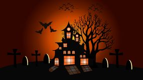 Lune de Halloween et fond d'arbre, illustration de vecteur illustration libre de droits