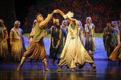 Lune de lutte-Hui de ballet au-dessus de Helan Photographie stock libre de droits