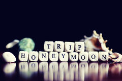 Lune de miel de voyage de cube en textes Photo libre de droits