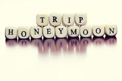 Lune de miel de voyage de cube en textes Photos stock