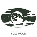 Lune de silhouette de vecteur pleine Images libres de droits