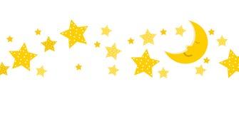 Lune de sommeil et bannière d'étoiles Photo stock